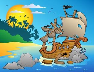 Foto op Plexiglas Piraten Seascape with shipwreck and rocks