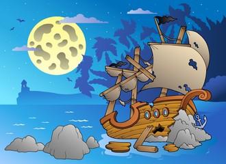 Foto op Plexiglas Piraten Night seascape with shipwreck
