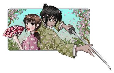 Japanese lady and proud samurai - sakura background