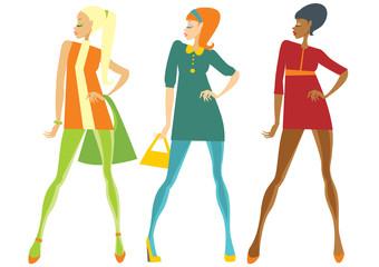 Sixties style fashionable girls