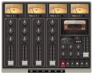 Vector portable recording studio template with icons