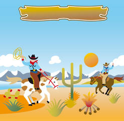 Printed roller blinds Wild West cowboys