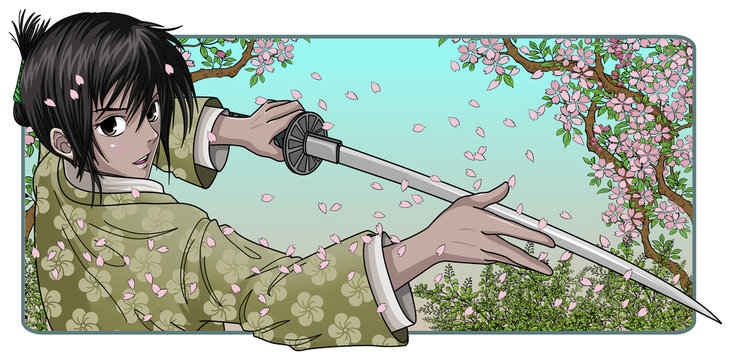 Proud Samurai Holding Blade - Nature Background