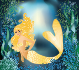 Fotorollo Seejungfrau Pretty Gold Mermaid with underwater background, vector