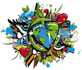 Graffiti Bio Earth Sustainable Development symbol pop art