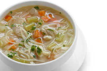 chicken noodle soup , cold and flu fighting soup