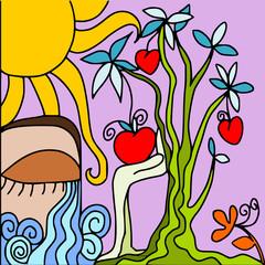 Self adhesive Wall Murals Classical abstraction albero di cuori