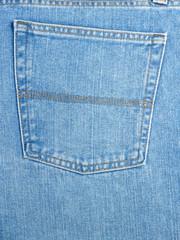Back pocket on blue jeans
