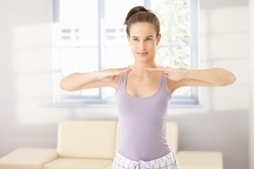 Healthy woman in morning exercise