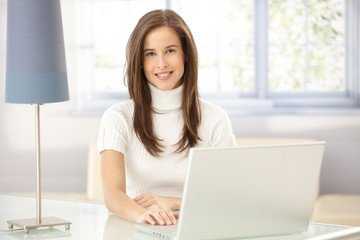Portrait of woman in study