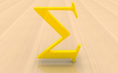 3D gold Greek letter Sigma