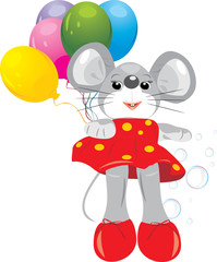 Mouse toy with colorful balloons
