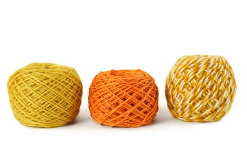 orange gamma clews in a row, isolated