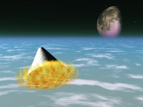 Space capsule enters atmosphere