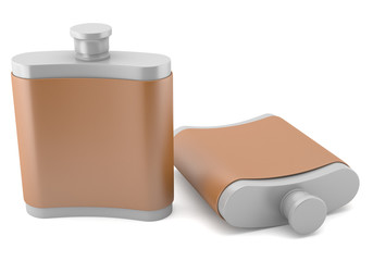 Two flasks isolated on white background