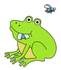 Frog eating fat fly, funny cartoon illustration.