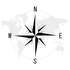 コンパスと世界地図