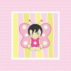 Tarjeta nacimiento bebé de color rosa