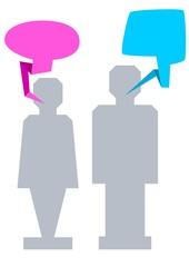 Mann und Frau mit Sprechblase
