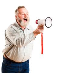 älterer Mann mit Megafon