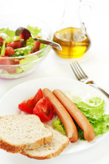 Sausages and salad