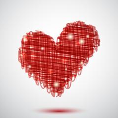 Sfondo con cuore rosso - Red scribble heart background