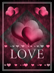 Two pink hearts on an abstract background
