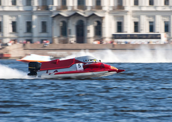 Printed roller blinds Water Motor sports F1H2O powerboat on championship in Saint Petersburg