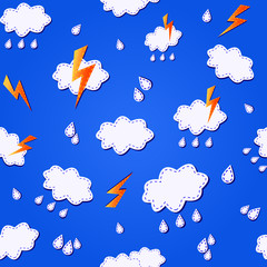 blue seamless pattern with clouds, ligths and rain drops
