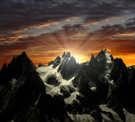 views of the Savoy Alps in the setting sun