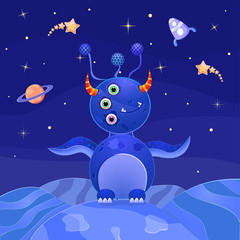 Blue Alien Standing on Planet in Open Space. Vector Illustration