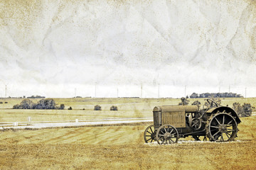 Vintage Picture Design - Old Tractor
