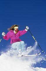 Beautiful Woman Snow Skiing