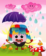 Photo sur Plexiglas Monde magique character in the rain vector