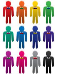 vector set of colorful man symbols
