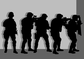 Vector illustration of anti terror armed forces