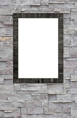 Wood frame on stone wall