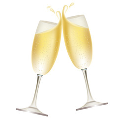 Two glasses full of champagne isolated on white