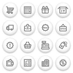 Shopping icons on white buttons.