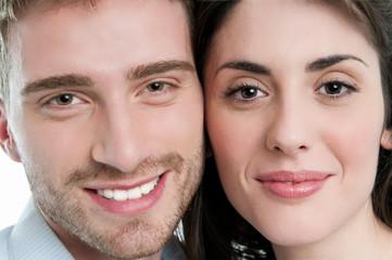 Happy couple closeup faces