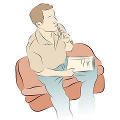 Man Thinking While Writing