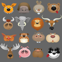 Cartoon animal heads icon set