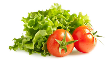 Fresh lettuces with tomatoes