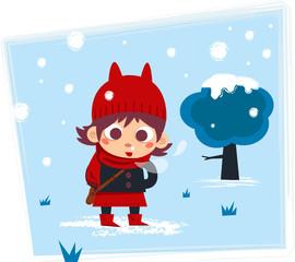 jeune fille et flocons de neige