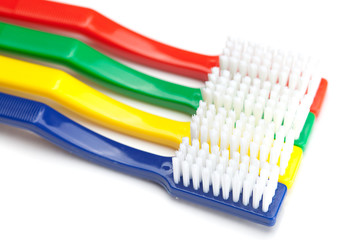 colored toothbrush isolated on white