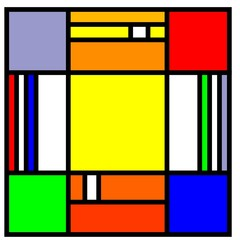 squares in the style of mondrian