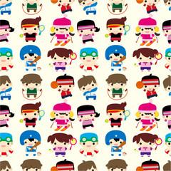 cartoon sport player seamless pattern