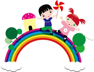 Poster Regenboog Illustration of children and rainbow