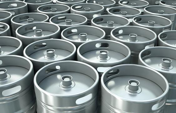 Beer kegs background. 3D render.