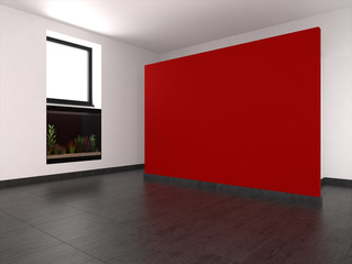 empty living room with red wall and aquarium